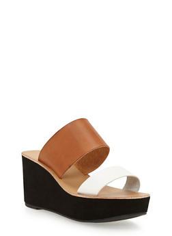 Double Strap Wedge Slide Sandals - SADDLE - 3110056636570