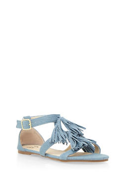 Tassel Sandals with Buckled Ankle Strap - 3110057181612