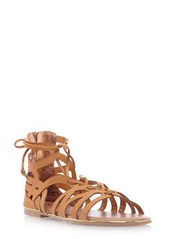 Faux Nubuck Lasercut Sandals - 3110057183376
