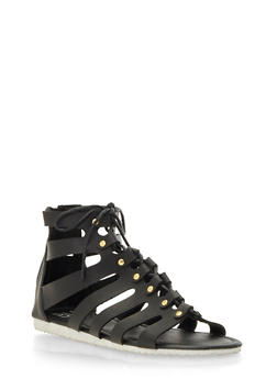 Faux Leather Gladiator Sandals - 3110057187299