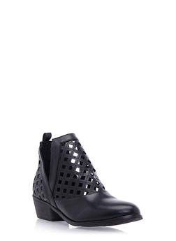 Lasercut Ankle Boots with Split Sides - 3110061123282