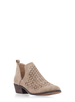 Lasercut Faux Nubuck Ankle Booties with Side Cutouts - 3110061127252
