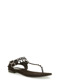 Faux Suede Double Strap Pearl Thong Sandals - 3110067246332