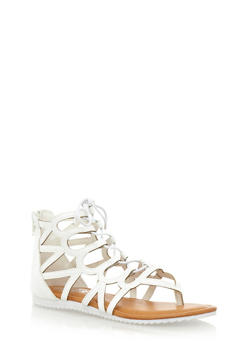 Faux Leather Ankle Gladiator Thong Sandals - 3110067246720