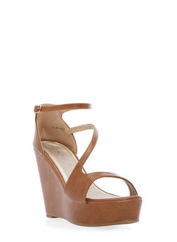Faux Leather Platform Wedges with Sculptural Straps - 3110068756530