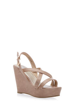 Faux Leather Platform Wedges with Cross-Over Straps - 3110068756532