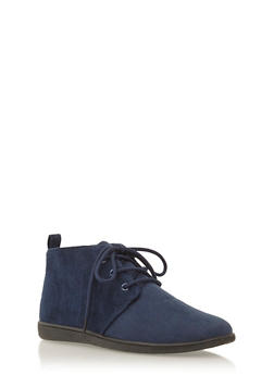 Brushed Suede Desert Boots - NAVY - 3110068757225