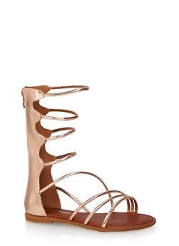 Metallic Gladiator Sandals with Striped Cord Straps - 3110070405284