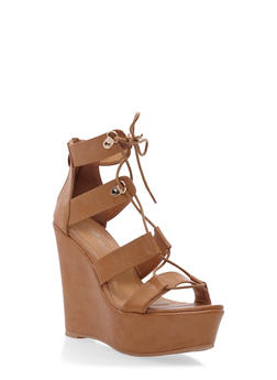 Faux Leather Platform Wedges with Lace-Up Front - 3110070407822