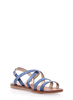 Slingback Sandal with Criss-Cross Straps - 3110073115463