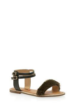 Double Ankle Strap Faux Fur Sandals - OLIVE FUR - 3110073117224
