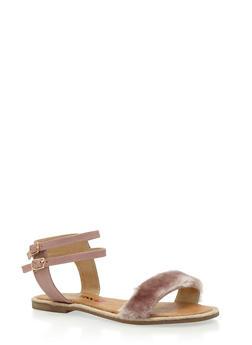 Double Ankle Strap Faux Fur Sandals - 3110073117224