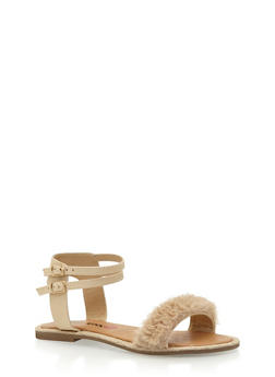 Double Ankle Strap Faux Fur Sandals - 3110073117224