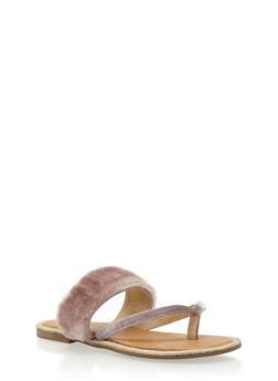 Faux Fur Thong Slide Sandals - MAUVE FUR - 3110073117425