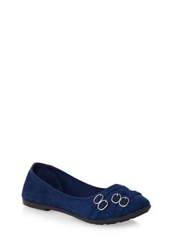 Round-Toe Flats with Four Buckle Accents at the Toe Box - 3110073325961