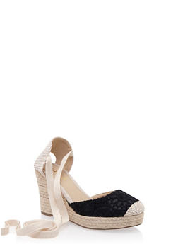 Ankle-Tie Espadrille Wedges with Crochet Toebox - 3110073492672