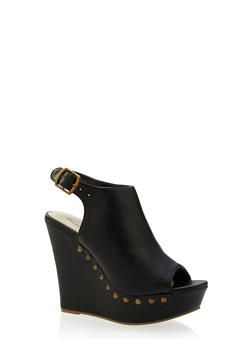 Faux Leather Platform Wedges with Studded Outsoles - 3110073492784