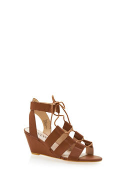 Faux Leather Lace-Up Wedges - 3110073496254