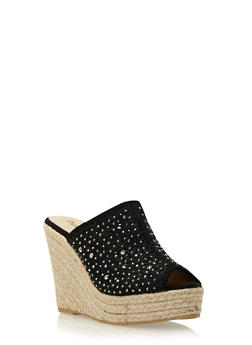 Espadrille Wedges with Embroidery and Crystal Accents - 3110073496352