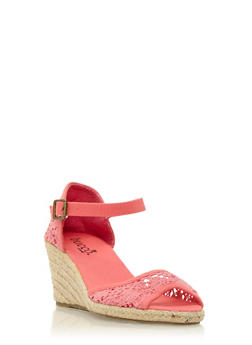 Crochet Espadrille Wedges with Ankle Strap - 3110073497426