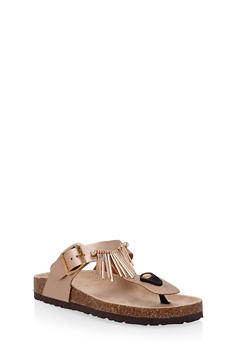 Faux Leather Sandals with Metallic Fringe - 3110073497427
