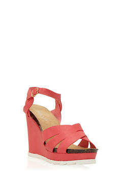 Faux Leather Wedges with Saws-Teeth Soles - 3110073497673