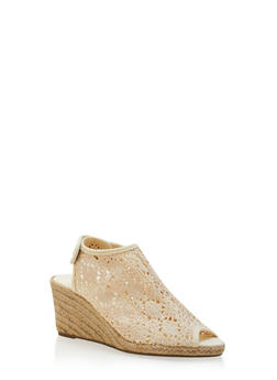 Peep-Toe Espadrille Wedges with Crochet Upper - 3110073497866