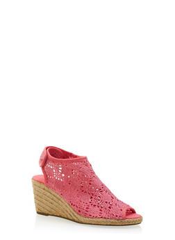 Peep-Toe Espadrille Wedges with Crochet Upper - 3110073497866