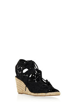 Espadrille Wedges with Lace-Up Front - 3110073499644