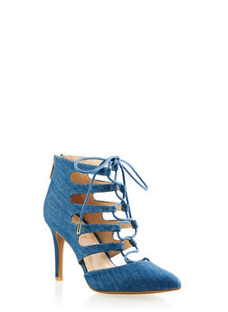 Pointed-Toe Ankle Boots with Lace-Up Front - 3111004062277