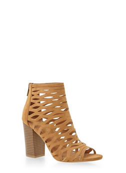 Lasercut Booties with Peep Toe - 3111004062374