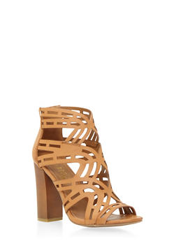 Lasercut Sandals with Peep Toe - 3111004063622