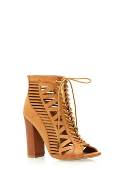 Lasercut Faux Leather Ankle Boots with Front Lace Accent - 3111004063623