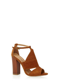 Sandals with Faux Wood Heels - 3111004063624