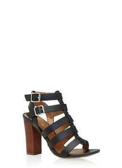 Caged Two Buckle Block Heel Sandals - 3111004063625