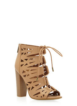 Lasercut Faux Suede Booties with Front Lace-Up Design - 3111004063654