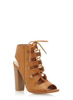 Open-Toe Booties with Front Lace-Up Detailing - 3111004063656