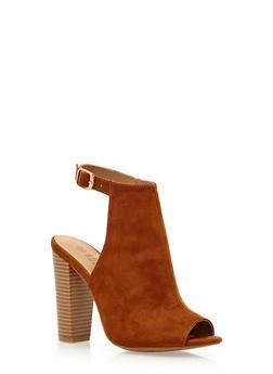 Open-Toe Faux Suede Sandals - 3111004063657