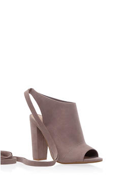Faux Suede Booties with Open Toes and Ankle Ties - 3111004063658