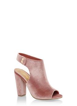 Open Toe Side Snap Printed High Heel Sandal - 3111004063740
