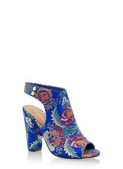 Open Toe Side Snap Printed High Heel Sandals - 3111004063740
