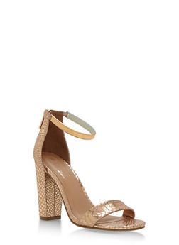 Metallic Ankle Strap Mid Heel Sandals - 3111004063748