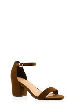 Faux Suede Sandals with Buckle Ankle Straps - 3111004064444