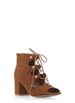 Faux Suede Ankle Boots with Open Toes and Front Lace Accent - 3111004064445