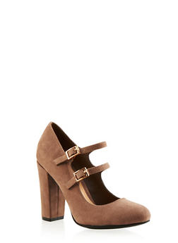 Faux Leather Double-Strap Mary Jane Pumps - 3111004064457