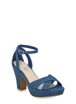 Brushed Faux Suede Ankle Strap Heels with Open Toe - 3111004066460