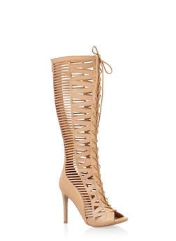 Tall Cutout Lace Up High Heels - 3111004066635