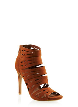 Lasercut Faux Suede Heels with Open Toes - 3111004066636