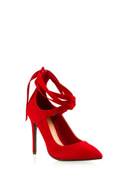 Faux Suede Pumps with Ankle Ties - 3111004067478
