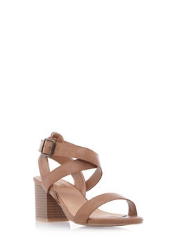 Faux Leather Sandals with Chunky Stacked Heels and Antiqued Hardware - 3111004067736